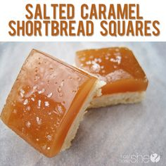 Salted Caramel Shortbread Squares | Oh my god. These dessert bars look AMAZING. Just look at that homemade salted caramel! These look like the perfect fall dessert!