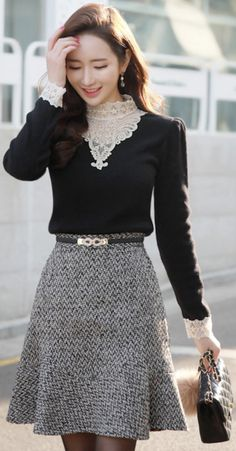 StyleOnme_Wool Blend Tweed Flared Skirt #sweet #wool #cute #tweed #skirt #koreanfashion #kstyle #kfashion #datelook #wintertrend
