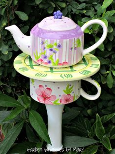 Garden Totem Stake Peony Teapot  As by GardenWhimsiesByMary, $30.00