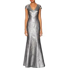 fc30bdb38754 Theia Women s Lace Contrast Metallic Jacquard Gown - Silver - Size 2 ( 479)  ❤
