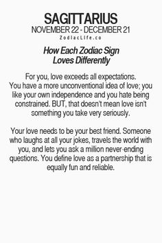 So true, I was really in love with an Aries I dated, a shame we broke up because we didn't want to commit to long distance😓. Zodiac Sagittarius Facts, Sagittarius Personality, Zodiac Signs Sagittarius, Zodiac Star Signs, My Zodiac Sign, Zodiac Quotes, Zodiac Facts, Sagittarius Man In Love, Sagittarius Season