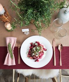 Holiday Tablescape_blue apron rosemary burgandy emily henderson