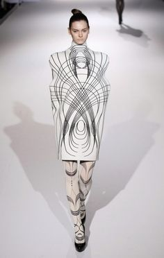 Sculptural Fashion - enclosed dress design with rounded 3D silhouette - line patterns, shape structure; wearable art // Sachio Kawasaki