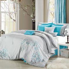Pink Floral Grey Aqua Comforter Bed In A Bag Set 8 Piece