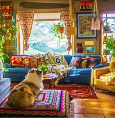 Chasity Kelly shares her colorful, maximalist bohemian home on her farm in Colorado. We love her bold use of color, textures, and indoor jungle. Hippie Living Room, Bohemian Living Rooms, Colorful Apartment, Hippie Apartment Decor, Hippie House Decor, Hippy Room, Colourful Living Room, Indie Room, Bohemian Decor