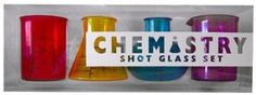 """Chemistry Shot Glasses """"Stand back – I'm about to perform science!"""" is what you'll be screaming to others as you go to work creating sensational drinks with the chemistry shot glasses. Shaped like common chemistry beakers, they're ideal for accurately concocting the perfect drink."""