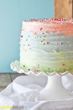 Ombre cakes are a dime a dozen these days, but we particularly love this one by Lemon Sugar. She melds multiple color palettes together instead of staying in the same color family: The result is much more eye-catching. (Sprinkles never hurt, either.)