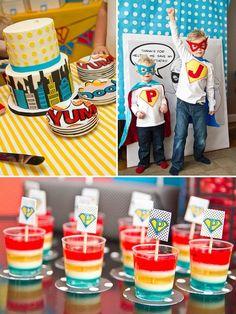 cool super hero birthday cake and desert treats
