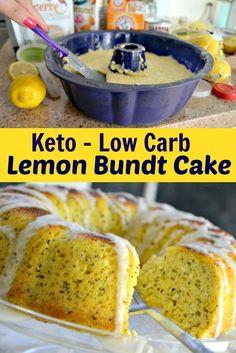 Keto low carb lemon poppy seed bundt cake with a sweet lemony glaze. Try this keto version. Keto Desserts, Keto Friendly Desserts, Keto Snacks, Frozen Desserts, Keto Foods, Ketogenic Recipes, Low Carb Recipes, Ketogenic Diet, Lemon Recipes Diabetic