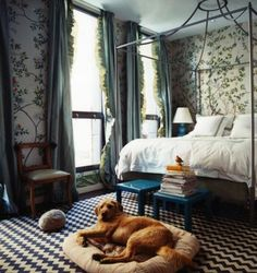 chinois wallpaper, chevron rug, and touches of turquoise.  miles redd featured in domino