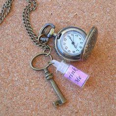 Alice in Wonderland inspired Antique Brass Locket Pocket Watch Necklace @Eryn Stuebgen (We can totally make this!)