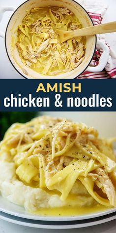 Amish Chicken And Noodles Recipe, Chicken And Noddles, Amish Noodles, Chicken And Dumplins, Chicken Corn Soup, Chicken Mashed Potatoes, Chicken Broth Recipes, Chicken Noodles, Chicken Meals