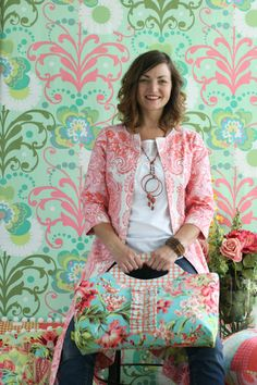 Amy Butler's Love Fabrics with The Sandlewood Jacket and The Miss Maven Ruffle Tote from Style Stitches
