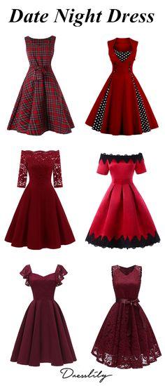 How To Wear For The Date.Lace Off The Shoulder Vintage Flare Dress. #dresslily #datedress #vintagedress