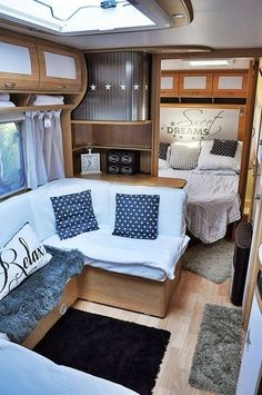 An RV camper interior renovation ideas is a superb way of traveling comfortably. It's now prepared for the client to enjoy camping at the VW indicates he is planning to attend! RV Camping is an immense family experience. Camper Interior Design, Rv Interior, Simple Interior, Interior Ideas, Motorhome Interior, Luxury Interior, Interior Inspiration, Rv Travel Trailers, Camper Trailers
