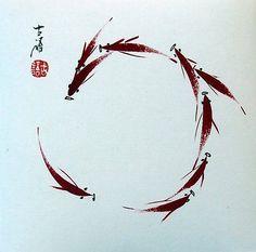 "Chinese small painting red Fish koi carp 6.7x6.7"" watercolor feng shui brush art"