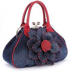 Kaxidy Ladies Girls Womens Denim Handbag Jean Bag Denim Shoulder Bag Shopper Satchel Messenger Tote Bags (Gold): Handbags: Amazon.com