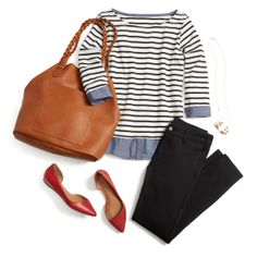 Love the flats! I have black denim jeans and a striped shirt very similar to this one (without the light blue/chambray shirt underneath)