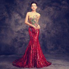 2016 Luxo Longo Arrastando Cheongsams Lantejoulas/Bordados Backless Qipao Robe Orientale Tradição Chinesa Do Vestido de Casamento