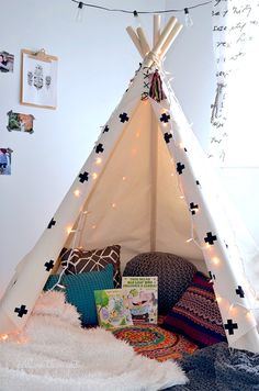 Reading Nook | Throw Pillows | String Lights | Indoor Camping | Teepee Tent | Playroom Design | Home Decor