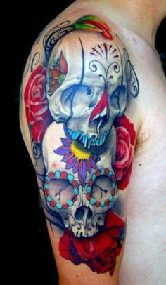 tatuaż czaszki i róże