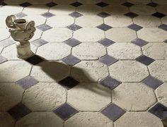 Antique Commissioned Floor with Blue Cabochons #parisceramics #antique #blue #cabochons #surfaceologist