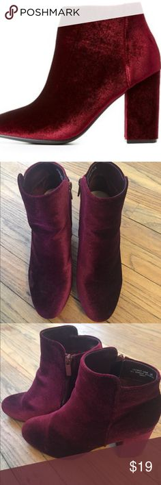 👠❤️Dark Red Booties👠❤️ Dark Red faux suede booties by bamboo. Not identical to first picture, but second two are the exact item. Super cute and a little more exciting than your standard bootie. Tiny scuff type mark on front of one, appears to just be a kink in the fabric, as they have never been worn. Size 8.5 BAMBOO Shoes