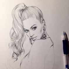 Beautiful Pencil Sketches, Art Drawings Sketches Simple, Pencil Art Drawings, Beyonce Drawing, Woman Sketch, Portrait Art, Art Day, Zulu Warrior, Drawing Fashion