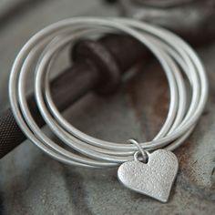 Tutti & Co Fleur Interlocking Silver Bangles with Heart Charm|lizzielane.co.uk £25.95
