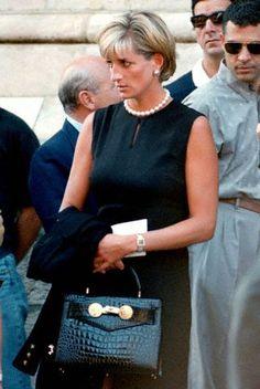 Princess Diana at Versace's funeral at Milan's gothic cathedral, July 22, 1997 in Milan, Italy.