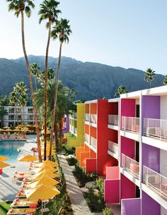 Killer color-blocking at the Saguaro Hotel in Palm Springs.
