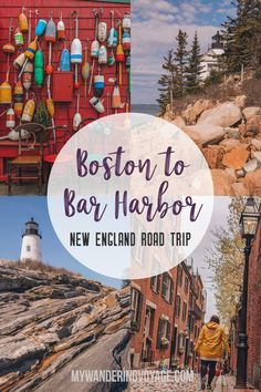 This New England road trip itinerary will take you on the scenic route from Boston to Portland Mid Coast Maine and Acadia National Park My Wandering Voyage Road Trip Usa, Maine Road Trip, East Coast Travel, East Coast Road Trip, East Coast Map, New England Fall, New England Travel, Maine New England, Zion National Park