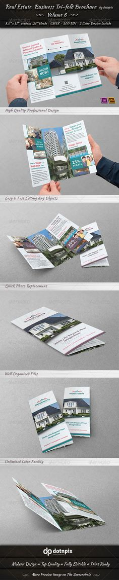 Real Estate Business TriFold Brochure | Volume 6 — Vector EPS #agency #business • Available here → https://graphicriver.net/item/real-estate-business-trifold-brochure-volume-6/6712579?ref=pxcr