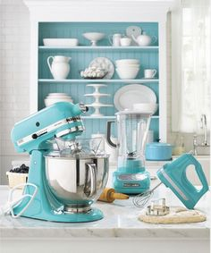I immediately thought of you  -----  tiffany blue kitchen! somebody please show my husband this on my birthday, christmas, anniversary and any other gift giving holiday