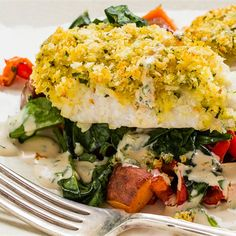 Try this Orange-Crusted Fish with Roast Vegetables And Orange Dressing recipe.