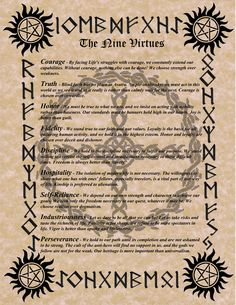 The Nine Virtues of Asatru Rune Symbols, Mayan Symbols, Viking Symbols, Egyptian Symbols, Viking Runes, Viking Art, Celtic Runes, Tattoo Symbols, Norse Tattoo