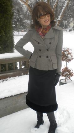 The snow skirt can be dressed up, too!