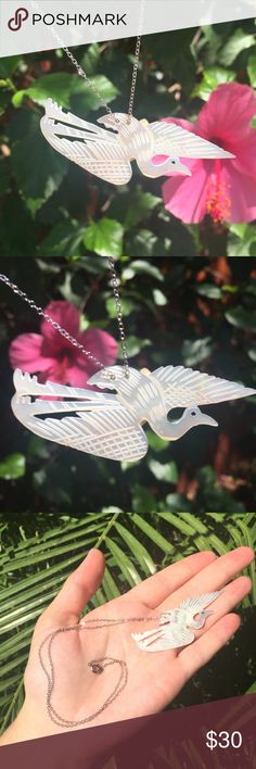 """Vintage bird necklace silver mother of pearl Mop NEW never worn. Hand carved from Israel, vintage mother of pearl necklace. Nice detail on bird, perfect bohemian large size necklace! MOP • includes chain!  🌵☀️OFFERS / BUNDLES WELCOME☀️🌵  Pendant measures approximately 2.5"""" x 1"""" Necklace drop measures approximately 8.5"""" Jewelry Necklaces"""