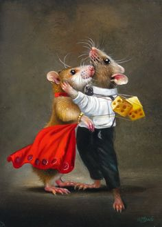 Painting 'Big Love' from artist Wim Bals Love My Dog, Felt Animals, Cute Animals, Maus Illustration, Lapin Art, Cute Rats, Cute Mouse, Whimsical Art, Pet Portraits