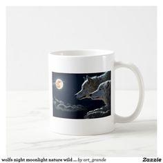 wolfs night moonlight nature wild animals coffee mug