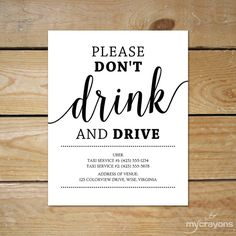 Printable Taxi Sign, Wedding Bar Sign // Please Don't Drink and Drive Sign // Instant Download Editable Taxi Sign