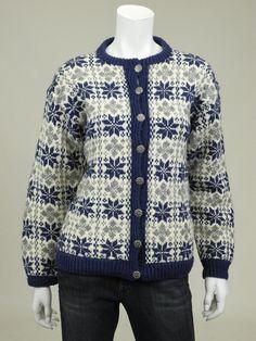 Husfliden Oslo M Womens cardigan sweater blue gray snowflake nordic wool Cardigan Sweaters For Women, Blue Sweaters, Wool Sweaters, Sweater Cardigan, Cardigans, Norwegian Knitting, Fair Isle Knitting, Blue Grey, Christmas Sweaters