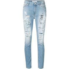 Iro distressed boyfriend jeans (£225) ❤ liked on Polyvore featuring jeans, pants, bottoms, blue, blue ripped jeans, destruction jeans, destructed boyfriend jeans, distressing jeans and blue jeans