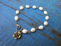 Fresh Water Pearl Bracelet Antique Gold by EyeKandyJewellery, $40.00