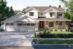 This charming, 2 story Modern Farmhouse house plan delivers 2,687 sq. ft., 4 bedrooms, 4 bathrooms, a home office, a 3 car garage, and a 2 story great room.