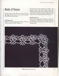 PATTERN: Maids of Honour edging tatting pattern by Mary Konior.  A picture of this being used as an edging is here http://mula.gallery.ru/watch?ph=WWO-e3yLN and the pattern is here http://mula.gallery.ru/watch?ph=WWO-e3yLQ