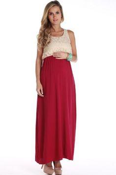 PinkBlush Maternity Women`s Magenta Crochet Top Maternity Maxi Dress $42.99