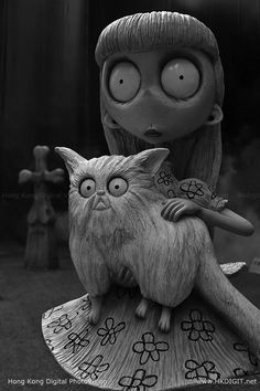"Tim Burton's ""Frankenweenie"" - Weird Girl and Mr. Whiskers."
