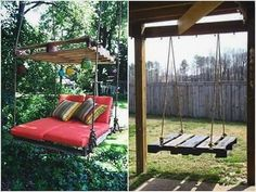 How to Make Pallet Hanging Lounge Swing - Craftspiration - Handimania Outdoor Chairs, Outdoor Furniture, Outdoor Decor, Beautiful Places To Live, Porch Swing, Pallet Projects, Cool Diy, Hanging Chair, Lounge