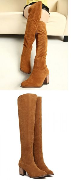 Cool !So nice ! you can have the same brown suedette over the knee boots from Choies...